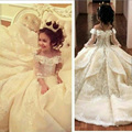Vintage Lace Flower Girl Dresses for Weddings 2017 Elegant Off Shoulder Wide V Neck Ball Gown Little Girl Pageant Gowns FH26