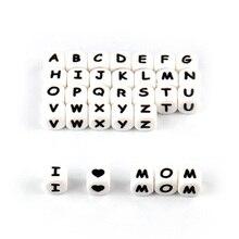 TYRY.HU 100 adet silikon alfabe mektubu boncuk silikon boncuk gıda sınıfı BPA içermeyen bebek diş çıkarma oyuncak emzik zinciri aksesuarları
