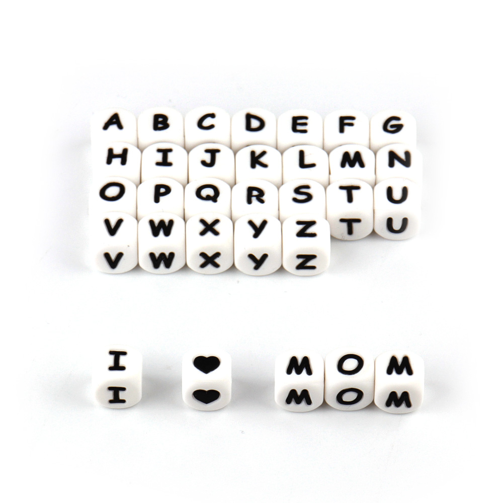 TYRY 100 st Alphabet Letter Silicone Teether Pärlor Mat Grade - Barnomsorg