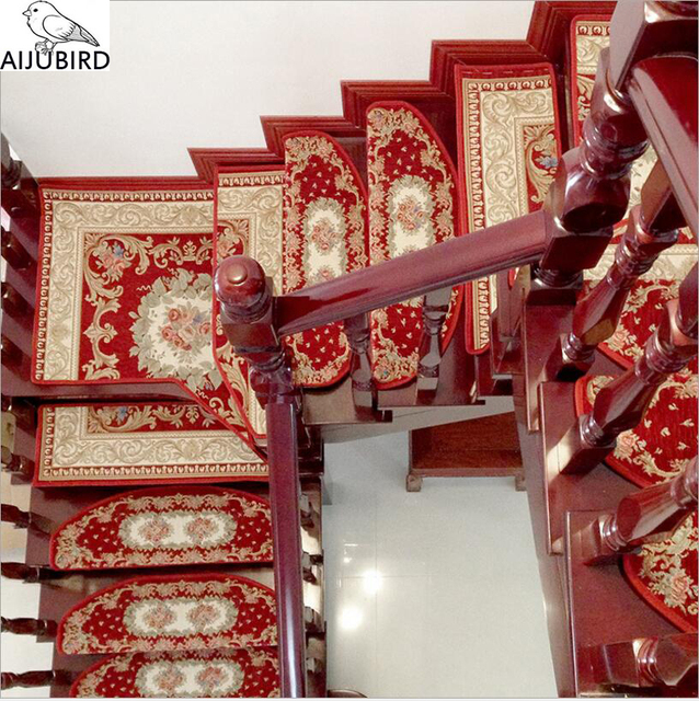 13Pcs Chinese Traditional Red Stair Carpet Sets Slip Resistance Stair Tread  Mats Step Rug For Stair