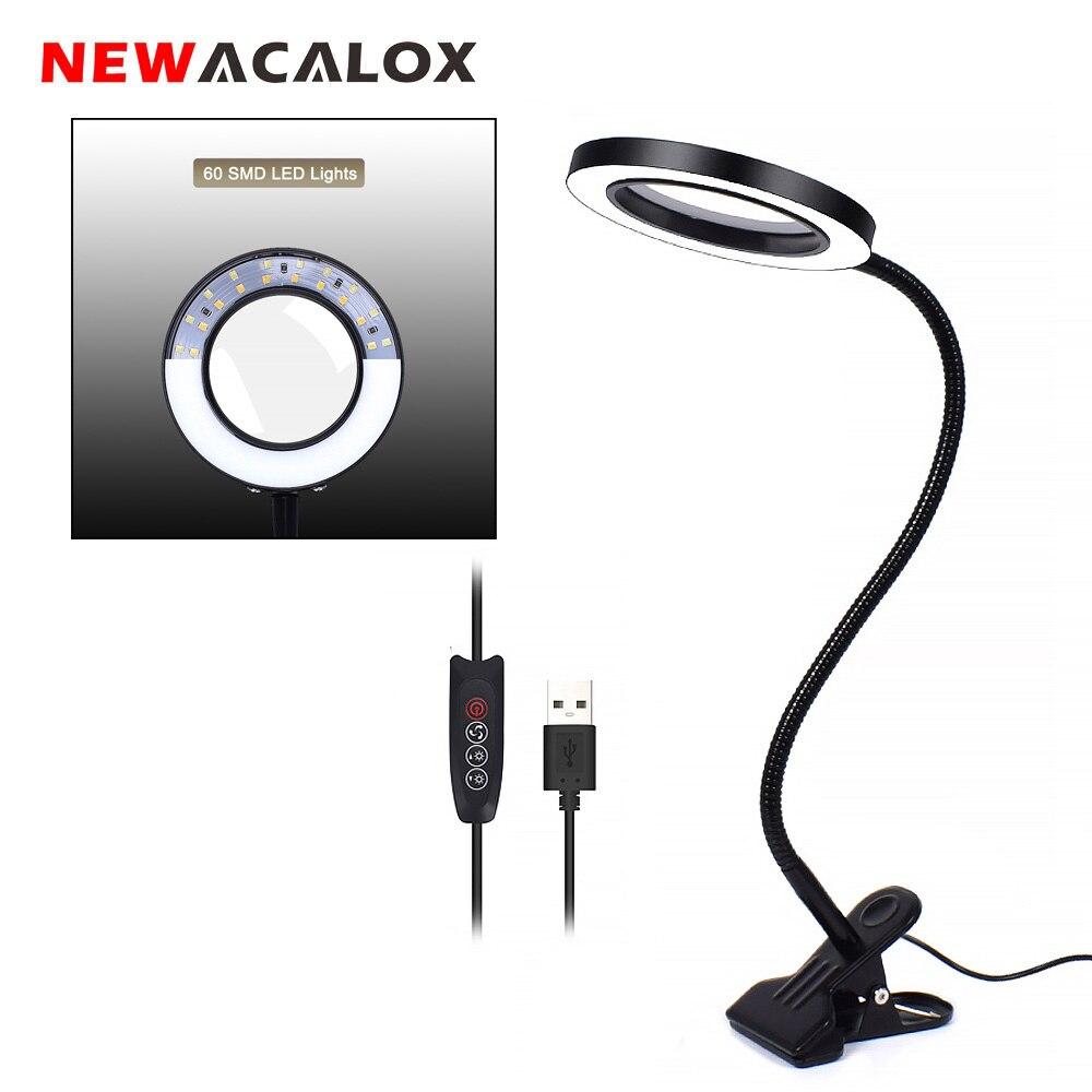 Newacalox 유연한 3x/5x usb 3 색 램프 돋보기 클립 온 테이블 탑 데스크 led 독서 대형 렌즈 조명 돋보기