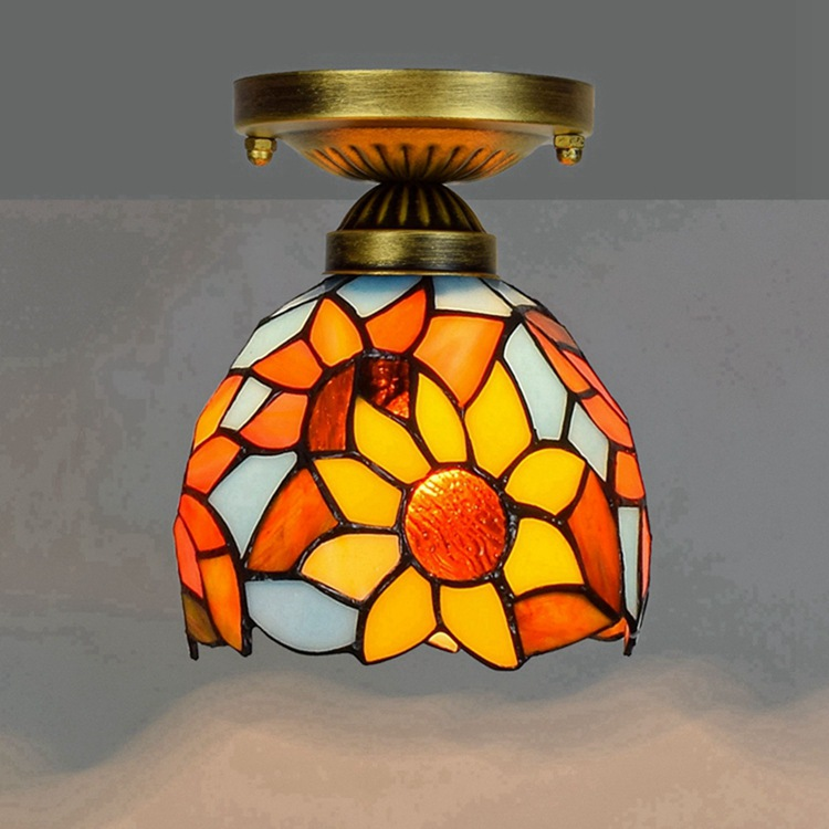 Ou 6 inch 15CM Tiffany coloured glass aisle corridor balcony small ceiling lamp blue sunflower lantern цена