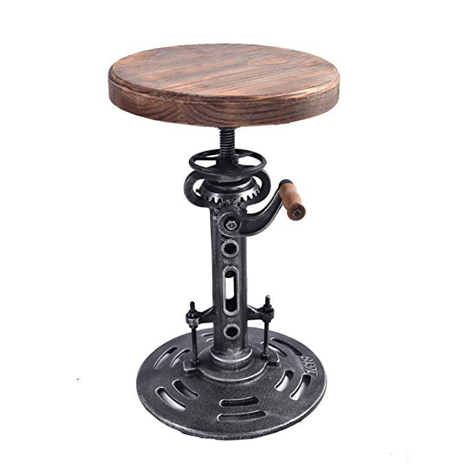 US $129 19 5% OFF|American Bar Chairs Antique Industrial Furniture DIY  Crank Stool Cast Iron Bar Stool Design Metal Adjustable Height Bar Chair-in  Bar