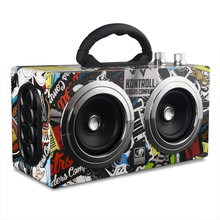Free DHL Graffiti Portable Wooden Speaker Bluetooth Speaker 20W Power Speakers Soundbar Bluetooth Receiver MP3 Player Speakers