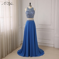 ADLN New Arrival Sexy Party Evening Dresses A line Crystals beading Gown O neck Dress with Zipper