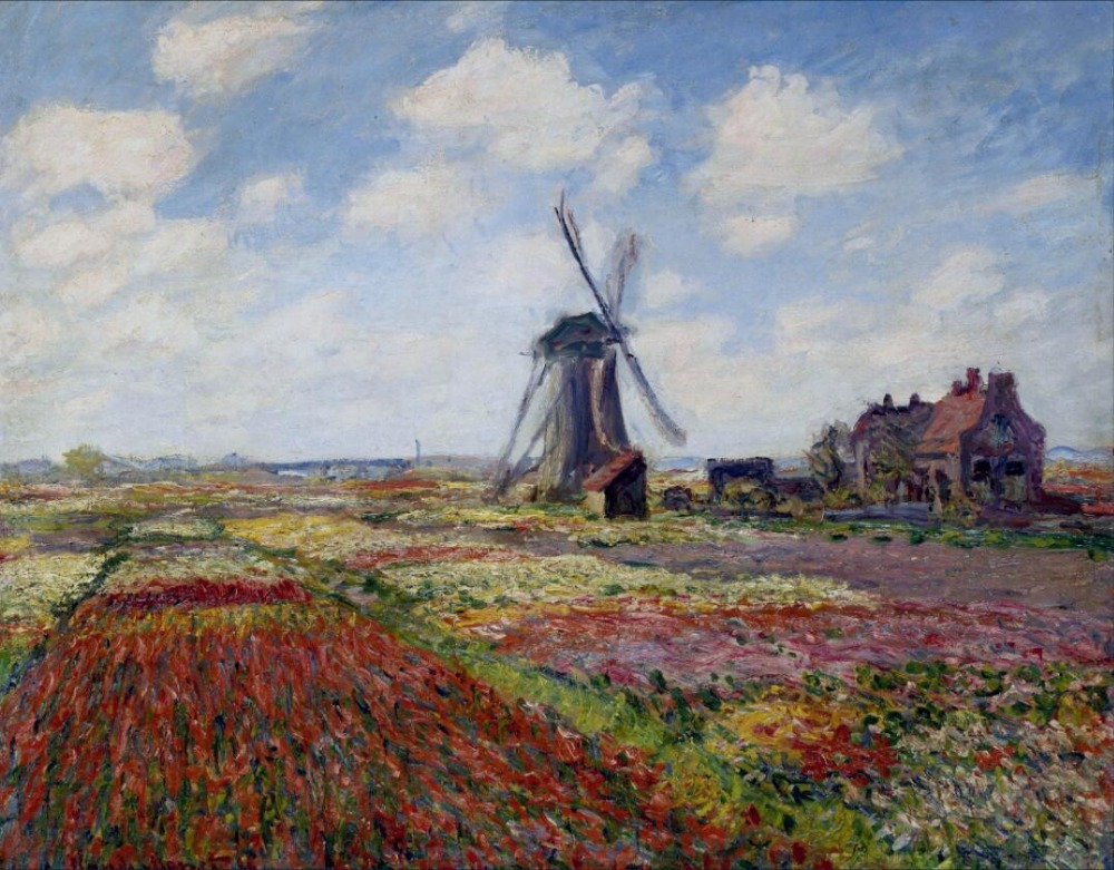 High quality Oil painting Canvas Reproductions Fields of Tulip With The Rijnsburg Windmill (1886) by Claude Monet hand paintedHigh quality Oil painting Canvas Reproductions Fields of Tulip With The Rijnsburg Windmill (1886) by Claude Monet hand painted