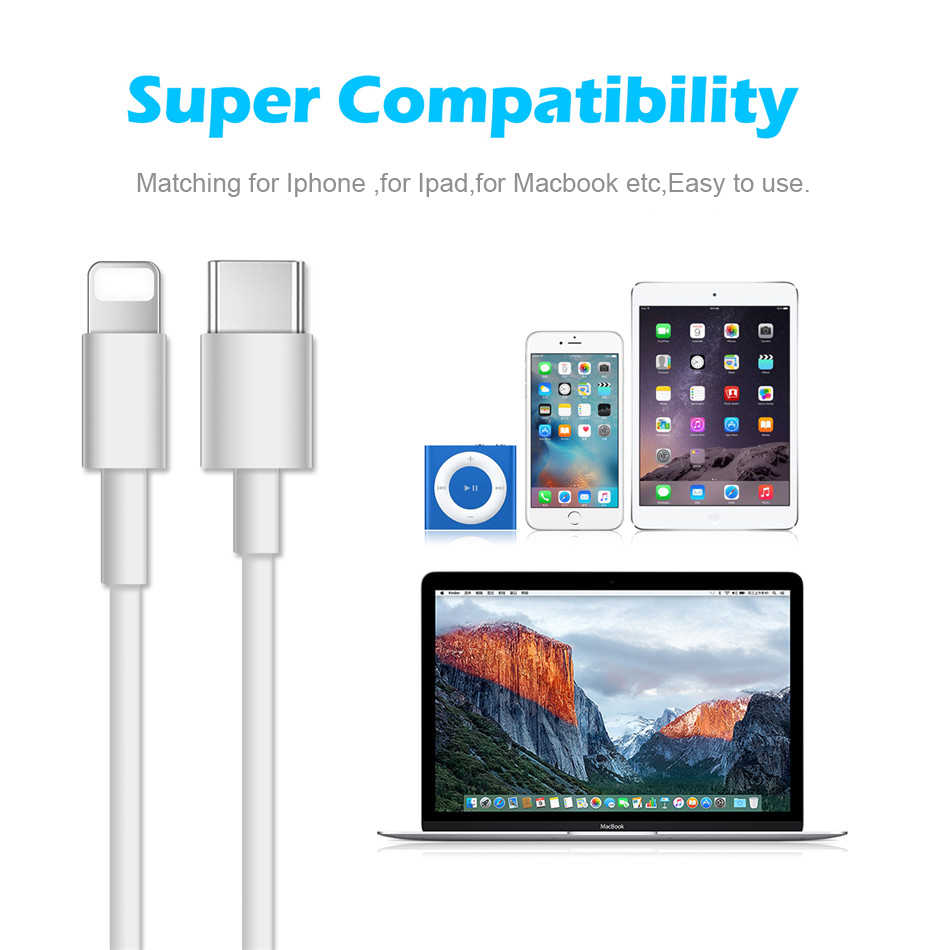 Date USB PD Cable Type C Cable Charging Wire for iPhone X XS XR 8 12W
