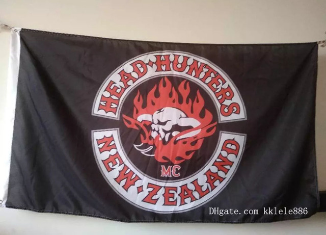 US $9 0 |Head Hunters MC Polyester New Zealand Motorcycle Club One  Percenter Bikers Banner Flag Custom flag-in Flags, Banners & Accessories  from Home