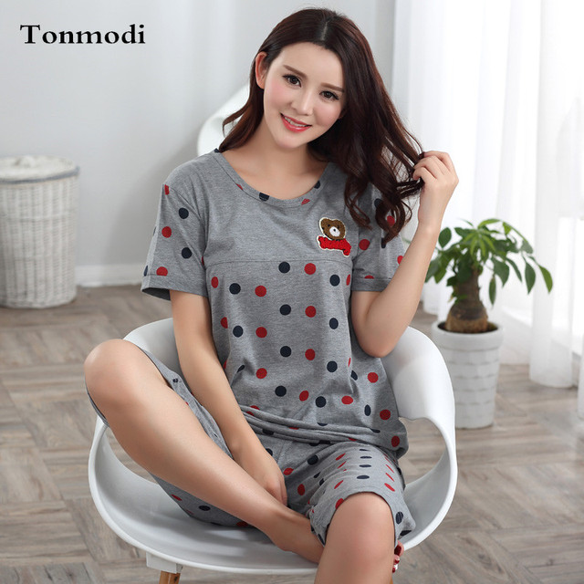 Cotton Pajamas For women Summer Short sleeve Pyjamas Sleepwear Knee Length  Elderly Pajamas Set Plus Size M-4XL b3153896e