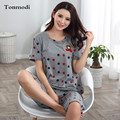 Pijamas de algodão Para as mulheres Pijamas de Verão Pijamas de manga Curta Sleepwear calças Na Altura Do Joelho Idosos Definir Plus Size M-4XL