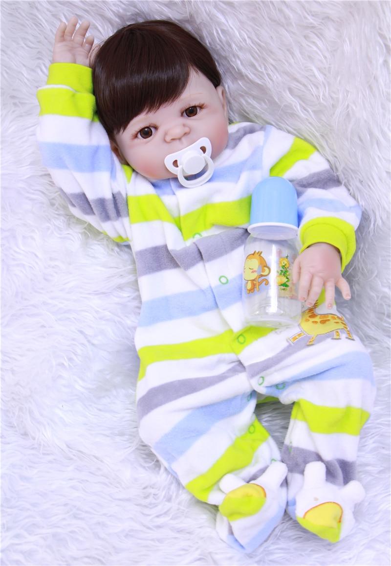 Plein Silicone 23 ''Reborn bébé poupée mode rayé vêtements garçon nouveau-né poupée bébé vivant poupées enfants jouer maison jouet cadeaux de noël lol