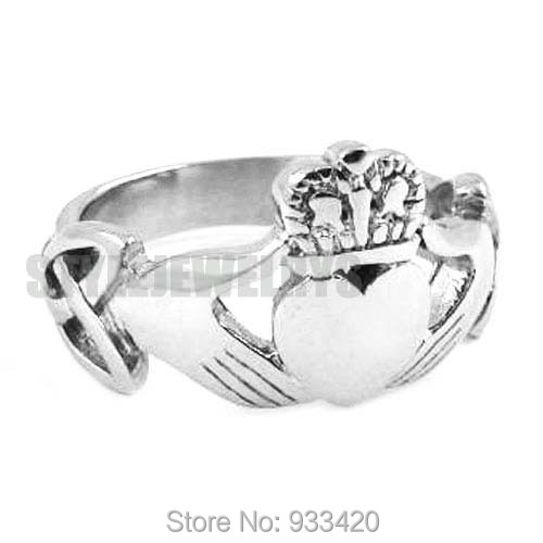 Free shipping! Claddagh Style Hand to Hold a Heart with Crown Ring Stainless Steel Jewelry Celtic Knot Wedding Ring SWR0309B