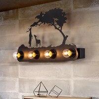 Nova Iluminação Da Parede Arandela Criativo Parede Veado Cavalo Estilo Moinho de vento lâmpada montado com 4 E27 Lâmpadas de Iluminação Sala de estar Em Casa preto