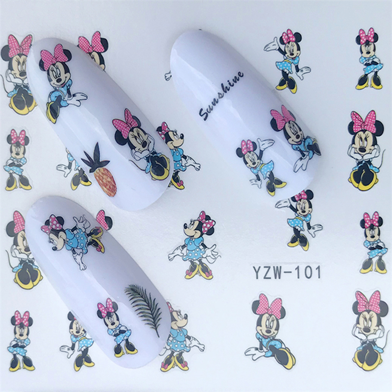 Image 4 - Hello Kitty  Mickey Mouse Decals Stickers Wrap Nails Cartoon Cute Nail Sticker Tips Decoration Nail Art Water Transfer Sticker-in Stickers & Decals from Beauty & Health
