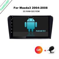 Funrover Android8.0 dvd плеер автомобиля для Mazda3 mazda 3 2006 2009 gps магнитола стерео rds wifi usb ГЛОНАСС rds рулевого управления