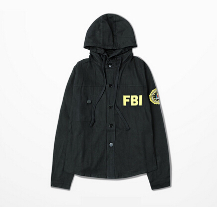 4f9958b41 US $37.37 |Europe Streetwear Mens 2015 Jacket Funny FBI Print Single  Breasted Hoody Coat Sport Bomber Hip hop Fashion Outwear Asian Size on ...