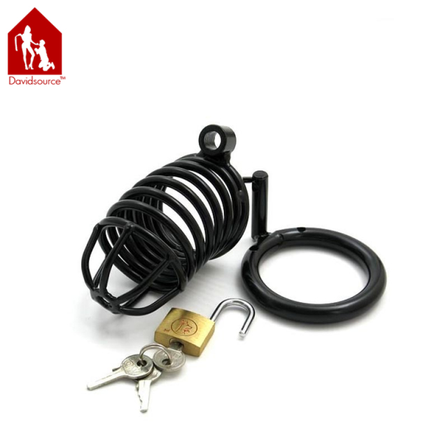 "Davidsource Metal Black Chastity Decive With Lock 4""Long 1.3""Wide Cock Cage Birdcage Virginity Lock Fetish Men Sex Toy"