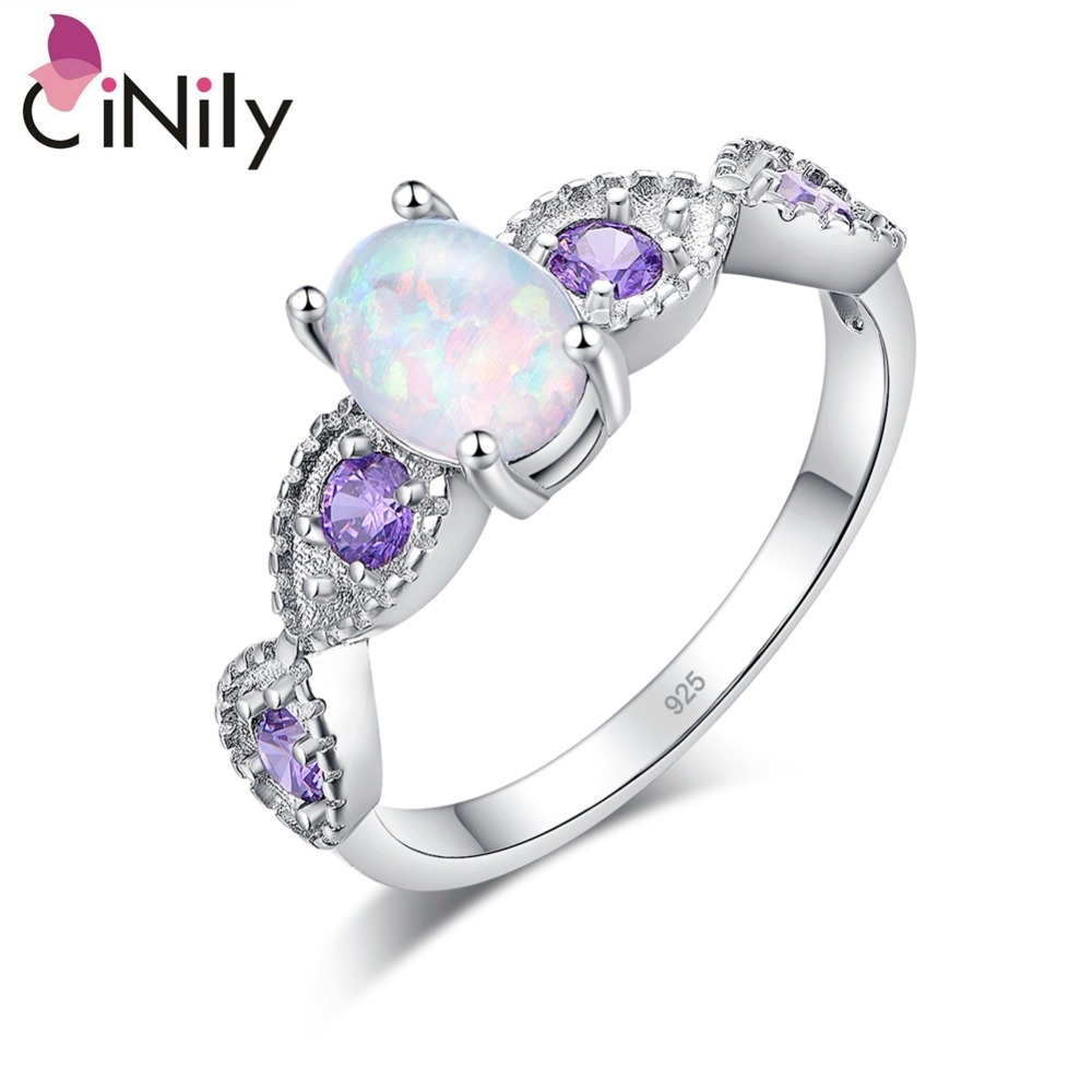 CiNily White Fire Opal Rings Forgylt Sølvfargede Purple Zircon Crystal Filled Ring Romantisk Engasjement Bryllup Smykker