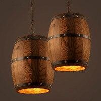 Amerikanischen land loft Pendelleuchten Vintage Holz Barrel Retro LED Pendelleuchte für Bar Shop Cafe Dining Room Decor