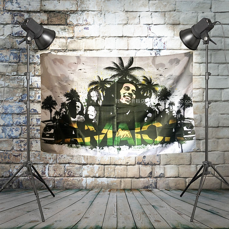 BOB marley JAMAICA Large Rock Flag Banners Four Hole Wall Hanging Painting Bedroom Studio Party Music Festival Background Decor