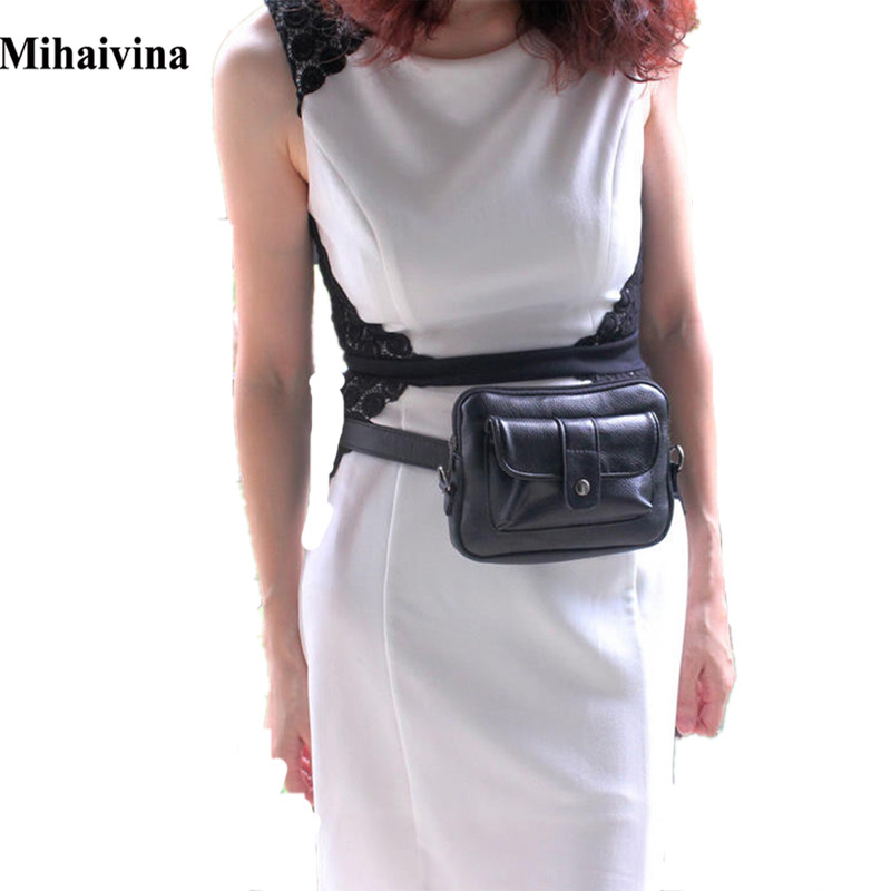 Mihaivina Fashion Women Bag Leather Waist Pack Femal Belt Bag Phone Pouch Bags Fashion Women Waist Packs Fanny Pack Bolosa mihaivina fashion black leather fanny pack women waist pack casual small waist pouch women leather waist bag bolosa