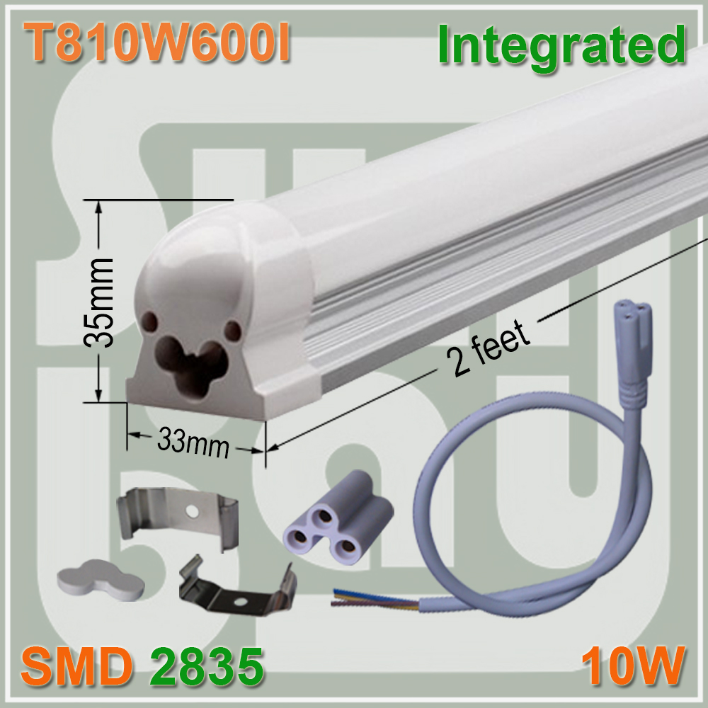 Free Shipping T8 LED Integrated Tube 2FT 10W 600mm Linear Tube Light Bulb Lamp With Accessory 4 pack free shipping t5 integrated led tube 4ft 20w milky transparent cover surface mounted bulb comes with accessory 85 277v