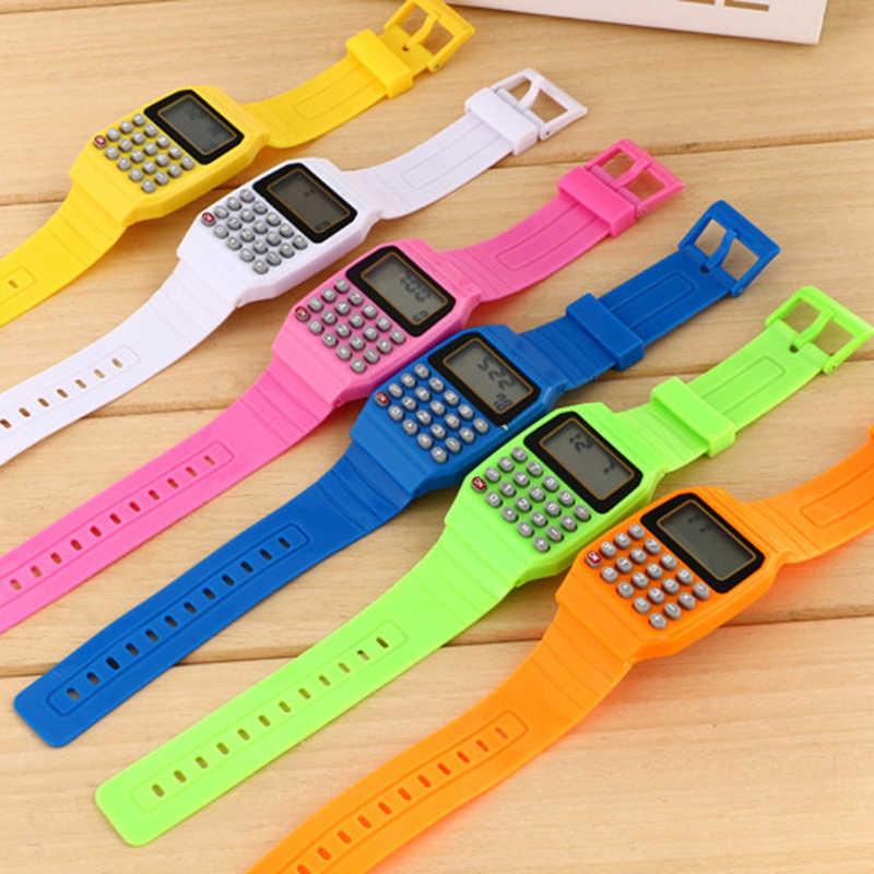 ファッション子供シリコーン日多目的電子電卓腕時計街