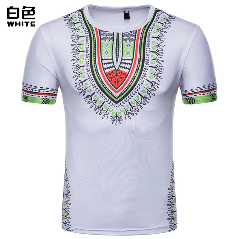 Dropshipping5 Colors  Summer Fashion Men Floral 3D Printed Short-sleeved T-shirt US SIZE
