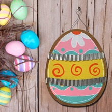 Wooden Easter Eggs Galvanized Corrugated Iron Hanging Board Wooden Spring Garden Plate Easter Decoration
