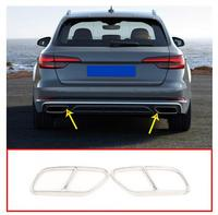2pcs Chrome Stainless Steel Car Tail Throat Exhaust Pipe For Audi A4 B9 2019 Muffler Tip Accessories