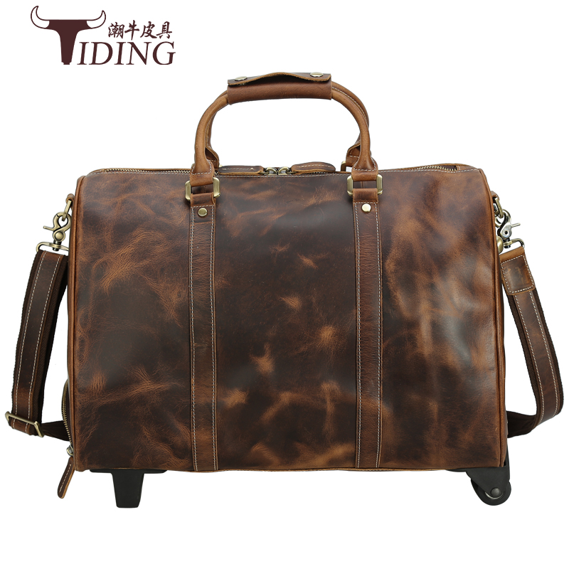 Travel Duffle Bags Genuine Leather Extra Large 2019 New Large Travelling Bag Real Leather Trolley Case Suitcase with Wheels Man in Travel Bags from Luggage Bags