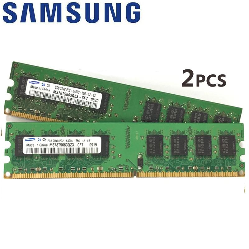 Samsung 2x Dual-kanal 2 gb (1GBX2) 4 gb (2GBX2) PC2 DDR2 ECC Desktop speicher 667 800 mhz 5300 6400 1 gb 2 gb RAM 2g 800 mhz Modul