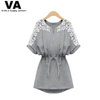Women Summer Casual Cotton Dress Sexy White Lace Dresses New 2014 Fashion Brand Plus Size Women