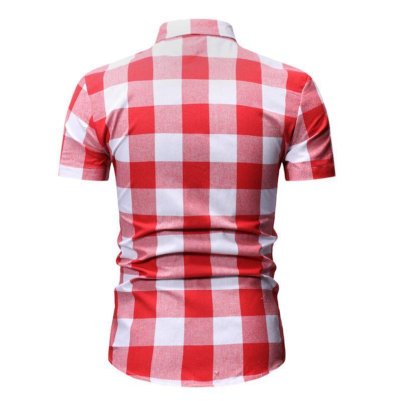 Plaid Mens Shirt Casual Wedding Dress Shirt Light gray Red Summer Camisetas Check Blouse Men Short sleeve Slim Fashion in Casual Shirts from Men 39 s Clothing