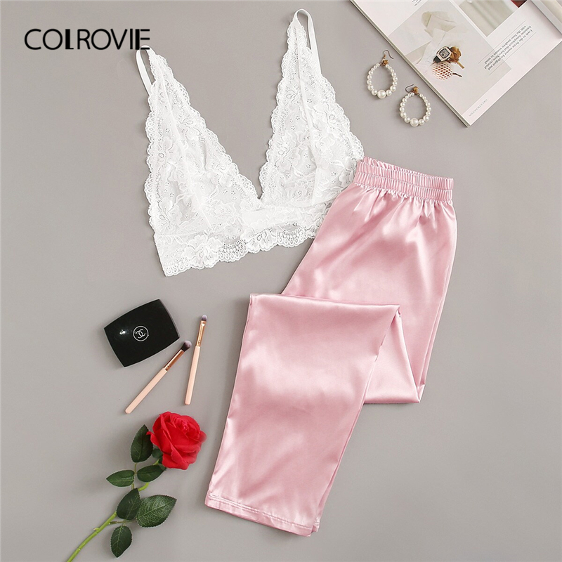 COLROVIE Pink Floral Lace Bralette With Satin Pants Women Sexy   Pajamas     Set   2019 Summer Underwear Nightgowns Female Sleepwear