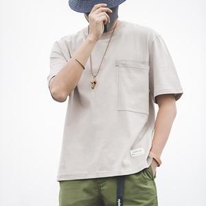 Image 1 - Мужской тяжелый хлопок свободный крой короткий рукав, круглый вырез карман Футболка