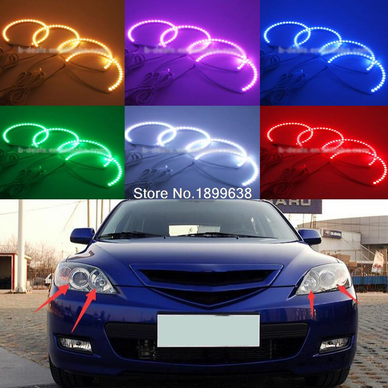 Super bright 7 color RGB LED Angel Eyes Kit with a remote control car styling For Mazda 3 mazda3 2002 - 2007 hochitech for mazda cx 7 cx 7 2006 2012 car styling rgb led demon angel eyes kit halo ring day light drl with a remote control