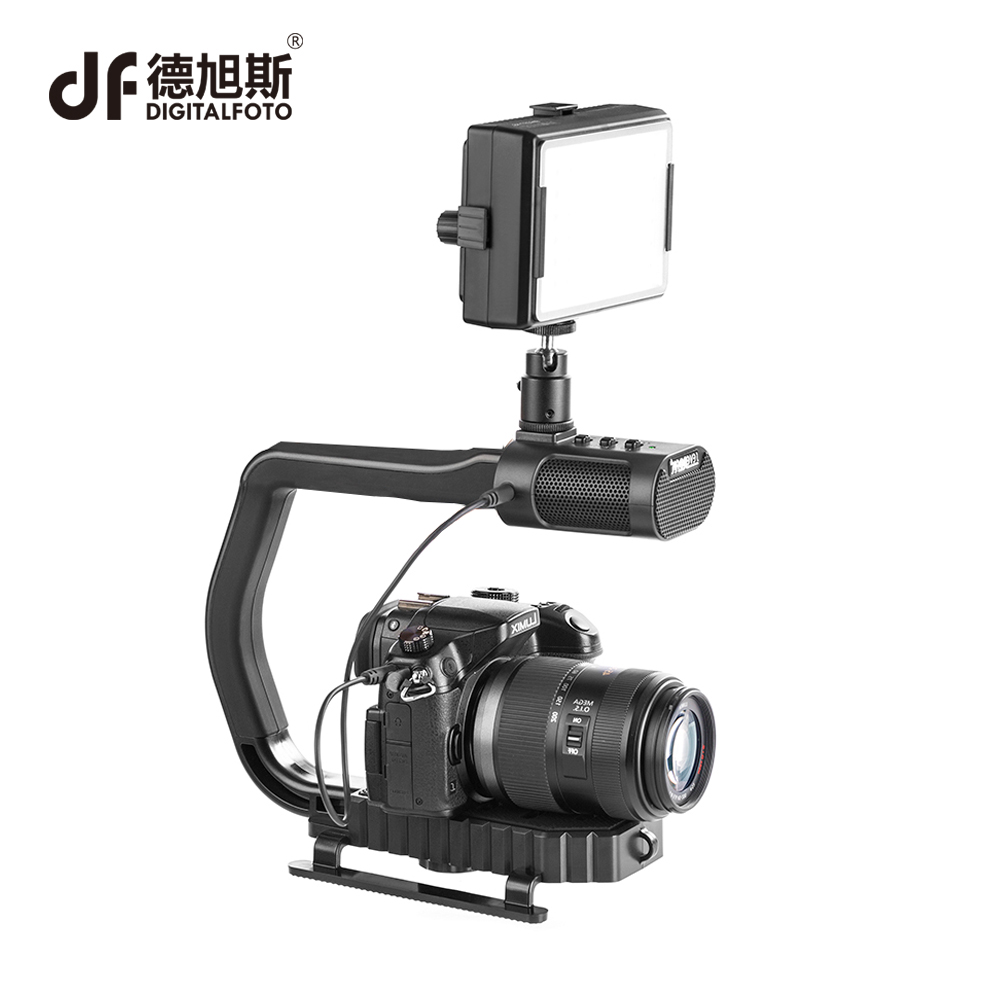 DIGITALFOTO Microphone portable handheld DSLR camera smartphone rig stabilizer steadicam with LED light for Nikon Canon Iphone ajustable s60 gradienter handheld stabilizer steadycam steadicam photo studio stabilizer accessories for camcorder dslr