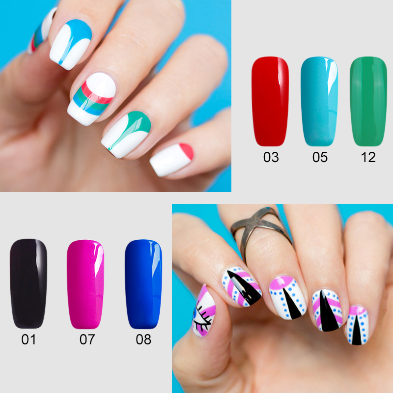12 Colour Bio Gel Nail Art Glue 3d Sculpture Carved Glitter Painting