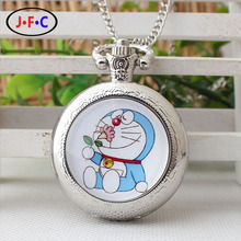 """pocket Watch the development of women and men basic cartoon """"Duo A dream"""" chain type college students' persona easy quartz watch"""