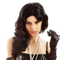 Black Flirty Flapper Costume Headwear 1920s Brunette Coquette Long Curly Hair Club Wear Halloween Fancy Dress