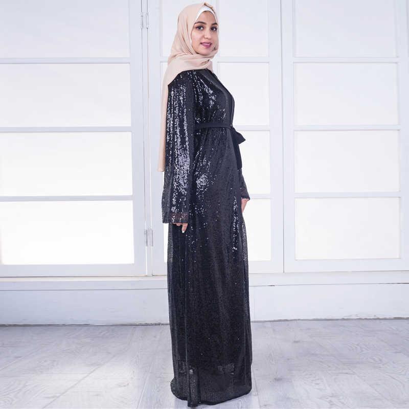 Черный блесток abaya Дубай 2019 Абая для женщин кимоно кардиган мусульманское платье хиджаб jilбаб одеяние мусульмане Longue Исламская одежда