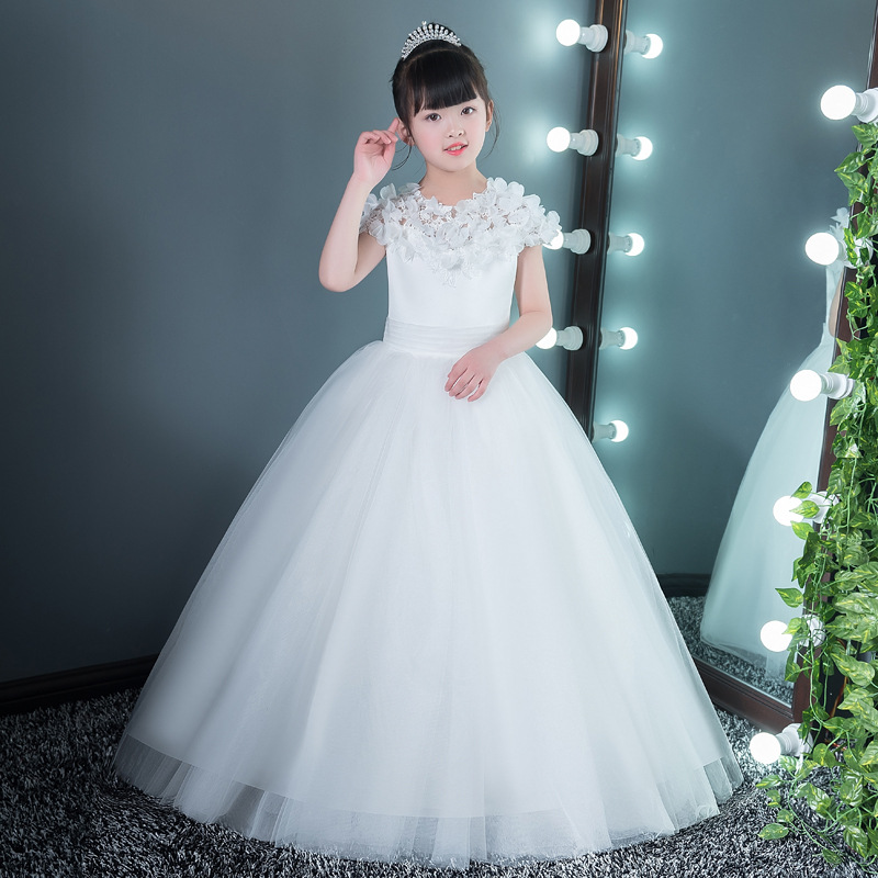 White Communion Pageant Ball Gowns Princess Dress For Girl Appliques Floral Dresses Long Princess Dress Floor-Length Gown AA69 2 12 years ball gown for girl kids communion pageant gown appliques lace floral dresses kids princess dress off shoulder gowns