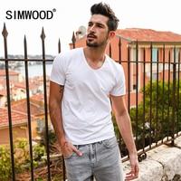 SIMWOOD 2018 Summer T Shirts Men Short Sleeve Casual 100 Pure Cotton Tops Tees Slim Fit