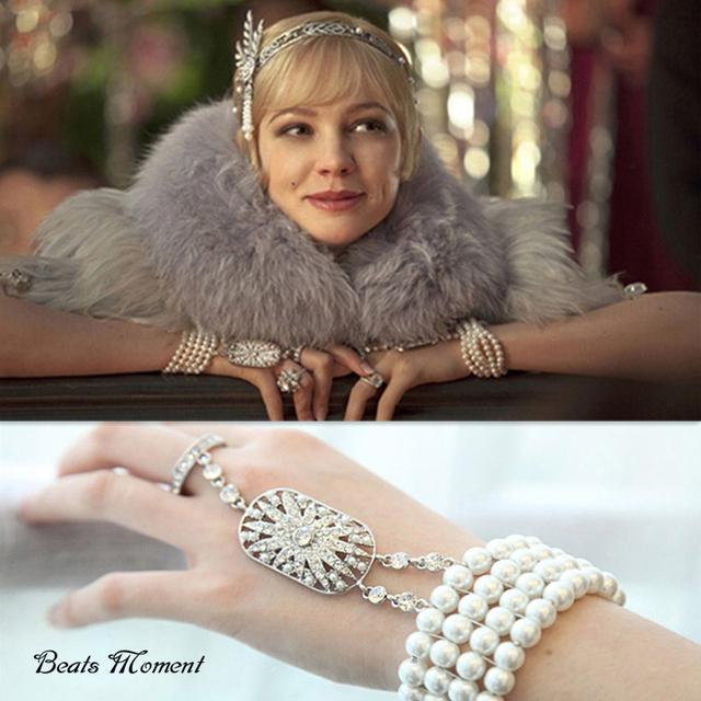 Grande gatsby pulseira B & M 2015 hot sale clássico pulseiras & pulseiras de cristal flor de strass pulseiras elásticas para as mulheres