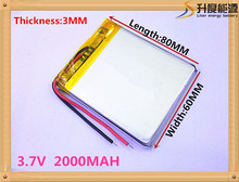 best battery brand Size 306080 3.7V 2000mah Lithium polymer Battery with Protection Board For MP4 PSP GPS Digital Camera Free Sh