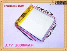 Lítio com Placa Proteção para Mp4 Mah de Polímero Melhor Marca DA Bateria Tamanho 306080 3.7 V 2000 Gps Psp Câmera Digital Gratuito SH