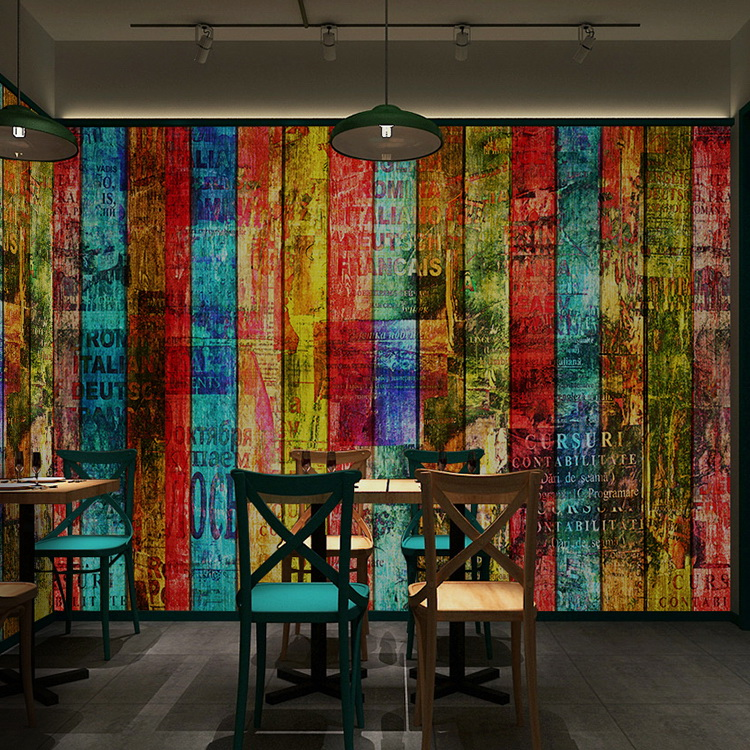 Buy free shipping3dcolor wood wallpaper for Cafe wall mural