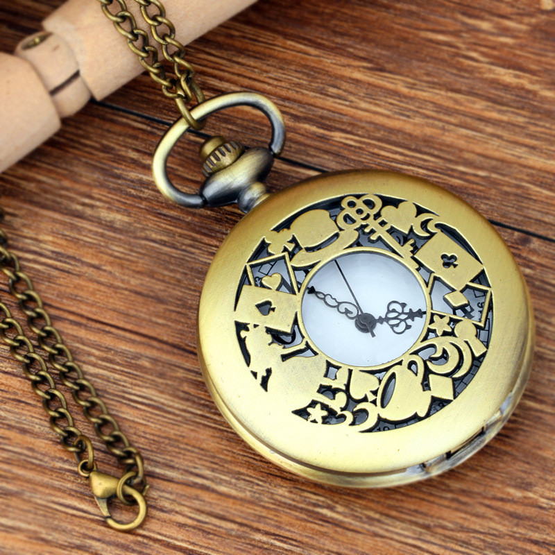 Antique Copper Steampunk Vintage Bronze Punk Hollow Quartz Pocket Watch Necklace Pendant Clock Chain Men's Women Gifts 2017 steampunk antique silver mechanical skeleton pocket watch mens women watches vintage hollow pendant chain clock gifts retro