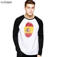 YUTESBRI Spain Pattern 3D T Shirt Spanish Flag Long Sleeves Camiseta Hombre Espanha Tee Shirt Casual